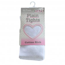 T80-W: Plain White Cotton Tights (NB-12 Years)