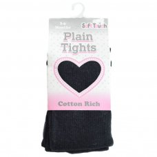 T86-BLK: Plain Black Cotton Tights (NB-12 Years)