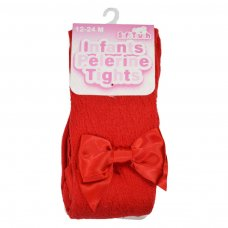 TP10-R: Red Pelerine Tights w/Bow (0-24 Months)