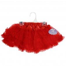 TS25-R: Red Satin Frilly Tutu Skirt (Newborn - 3 Years)
