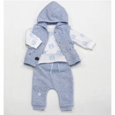 L1051: Baby Boys Bear 3 Piece Hooded Gilet, Top & Pant Set (0-9 Months)