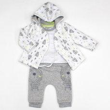 L1060: Baby Boys Lion 3 Piece Hooded Jacket, Top & Trouser Set (0-9 Months)