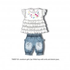 Tweet 5: Frilled Top & Denim Jean Set (0-12 Months)
