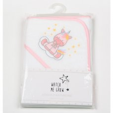K1703: Baby Girls Unicorn Hooded Towel/Robe