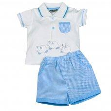 H1909: Baby Boys Sheep Polo Shirt & Short Set (0-9 Months)