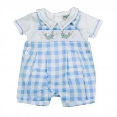 H1916: Baby Boys Seals Smocked Dungaree & Polo Shirt Set (NB-6 Months)
