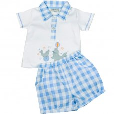 H1918: Baby Boys Seals Polo Shirt & Check Short Set (0-9 Months)