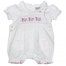 H1928: Baby Girls Unicorn Smocked Dungaree & T-Shirt Set (NB-6 Months)