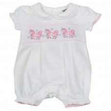 H1929: Baby Girls Unicorn Smocked Romper (NB-6 Months)