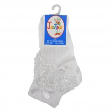 Girls White Jester Frilly Lace Socks
