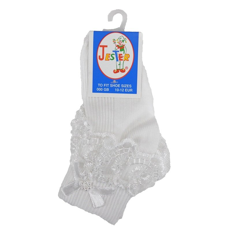 Girls White Jester Frilly Lace Socks