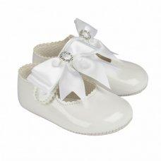 B060: Baby Girls Bow & Diamante Soft Soled Shoe- White (Shoe Sizes: 0-3)