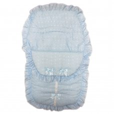 Broderie Anglaise Sky Footmuff/ Cosytoe With Bows & Lace