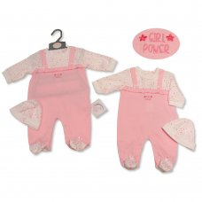 BIS-2020-2264: Baby Girls All In One & Hat Set- Girl Power (NB-3 Months)