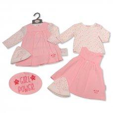 BIS-2020-2266: Baby Girls Top, Dress & Hat Set- Girl Power (NB-3 Months)