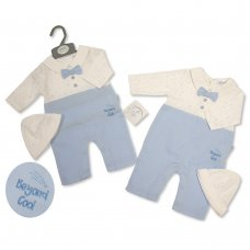 BIS-2020-2287: Baby Boys Bow Tie All In One Romper & Hat Set- Beyond Cool (NB-3 Months)