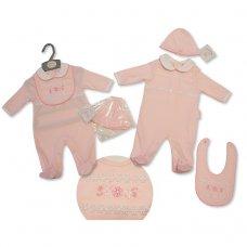 BIS-2027-2057: Baby Girls Lace All In One, Bib & Hat Set (NB-3 Months)