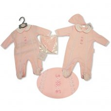 BIS-2027-2058: Baby Girls Lace All In One & Hat Set (NB-3 Months)