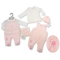 BIS-2027-2069: Baby Girls Quilted Dungaree, Top & Hat Set (NB-3 Months)