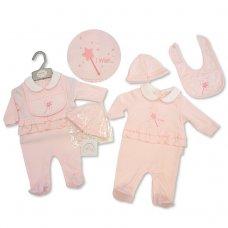BIS-2027-2071: Baby Girls All In One, Bib & Quilted Hat Set (NB-3 Months)
