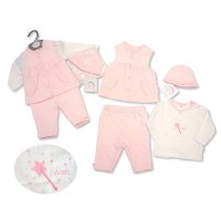 BIS-2027-2072: Baby Girls 4 Piece Quilted Gilet Set (NB-6 Months)