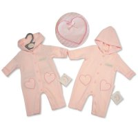 "BIS-2027-2074: Baby Girls ""Little & Loved"" Quilted Hooded Romper & Hat Set (NB-3 Months)"