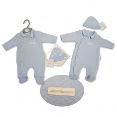 """BIS-2027-2083: Baby Boys """"Little & Handsome"""" Quilted All In One & Hat Set (NB-3 Months)"""