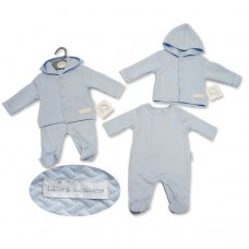 """BIS-2027-2085: Baby Boys """"Little & Handsome"""" All In One & Quilted Hooded Jacket (NB-3 Months)"""