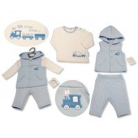 BIS-2027-2101: Baby Boys Train Quilted, Hooded Gilet Set (NB-6 Months)