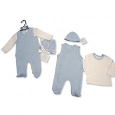 BIS-2027-2103: Baby Boys 3 Piece Knitted Dungaree, Top & Hat Set (NB-3 Months)