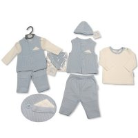 BIS-2027-2104: Baby Boys 4 Piece Knitted Gilet Set (NB-6 Months)