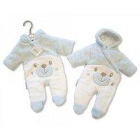PB-20-320S: Tiny Baby Padded Snowsuit - Teddy - Sky