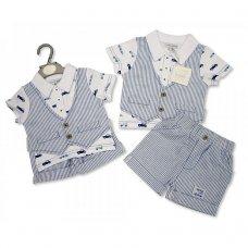 BIS-2097-1853: Baby Boys Vintage Cars Cotton 3 Piece Short & Waistcoat Set (NB-6 Months)