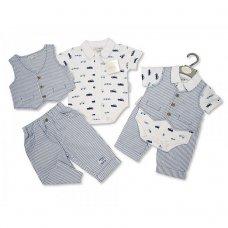 BIS-2097-1854: Baby Boys Vintage Cars Cotton 3 Piece Trouser & Waistcoat Set (NB-6 Months)