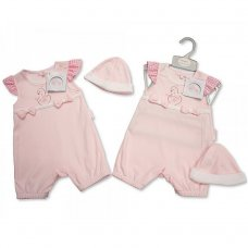 BIS-2098-1977: Baby Girls Swan Romper & Hat Set (NB-3 Months)