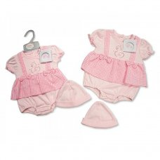 BIS-2098-1978: Baby Girls Swan Bodysuit Dress & Hat Set (NB-3 Months)