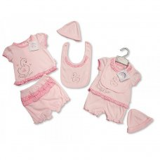 BIS-2098-1979: Baby Girls Swan 4 Piece Set (NB-6 Months)