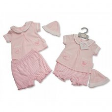 BIS-2098-1988: Baby Girls Sailor 2 Piece Set with Hat (NB-6 Months)