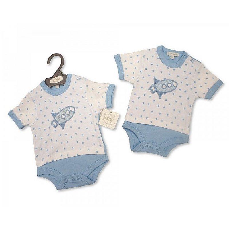 BIS-2098-2022: Baby Boys Rocket Mock T-Shirt Bodysuit (NB-6 Months)