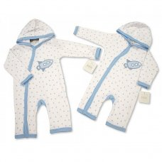 BIS-2098-2024: Baby Boys Rocket Hooded All in One with Crochet Embroidery (NB-6 Months)