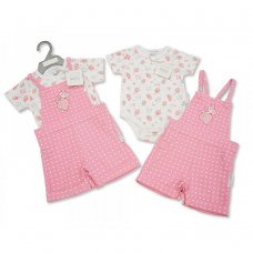 BIS-2098-2051: Baby Girls Strawberry Corduroy Dungaree Set (NB-6 Months)