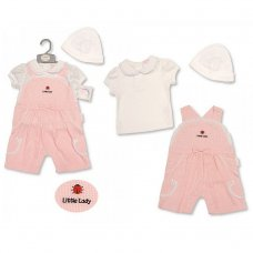 BIS-2099-2190: Baby Girls Ladybird Gingham Dungaree, T-Shirt & Hat Set (NB-6 Months)