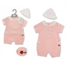 BIS-2099-2192: Baby Girls Ladybird Gingham Romper & Hat Set (NB-3 Months)