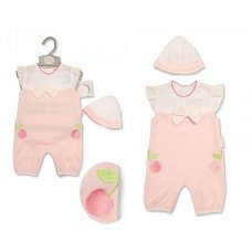 BIS-2099-2202: Baby Girls Embroidered Cherries Romper & Hat Set (NB-3 Months)