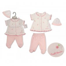 BIS-2099-2203: Baby Girls Embroidered Cherries Top, Legging & Hat Set (NB-6 Months)