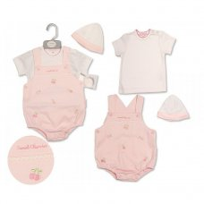 BIS-2099-2204: Baby Girls Embroidered Cherries Short Dungaree, T-Shirt & Hat Set (NB-6 Months)