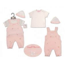 BIS-2099-2205: Baby Girls Embroidered Cherries Dungaree, T-Shirt & Hat Set (NB-6 Months)