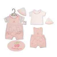 BIS-2099-2206: Baby Girls Embroidered Cherries Dungaree, T-Shirt & Hat Set (NB-6 Months)