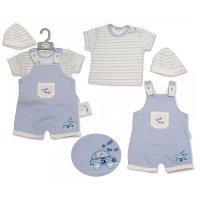 BIS-2099-2215: Baby Boys Beep Beep Dungaree, T-Shirt & Hat Set (NB-6 Months)