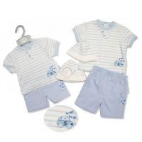 BIS-2099-2216: Baby Boys Beep Beep T-Shirt, Short & Hat Set (NB-6 Months)